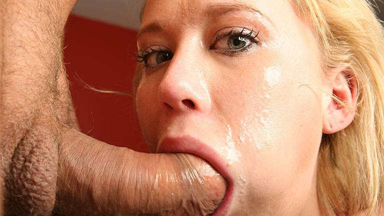 Blonde Carly Parker gives deep throat blowjob